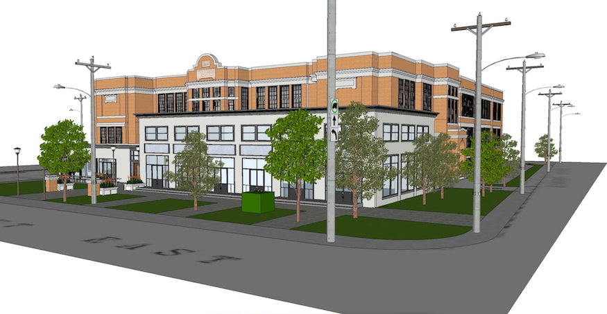 Stinson Properties rendering of the Gibson School Lofts at 601 Barton St. E. showing trees and renovated midcentury gymnasium wing in foreground