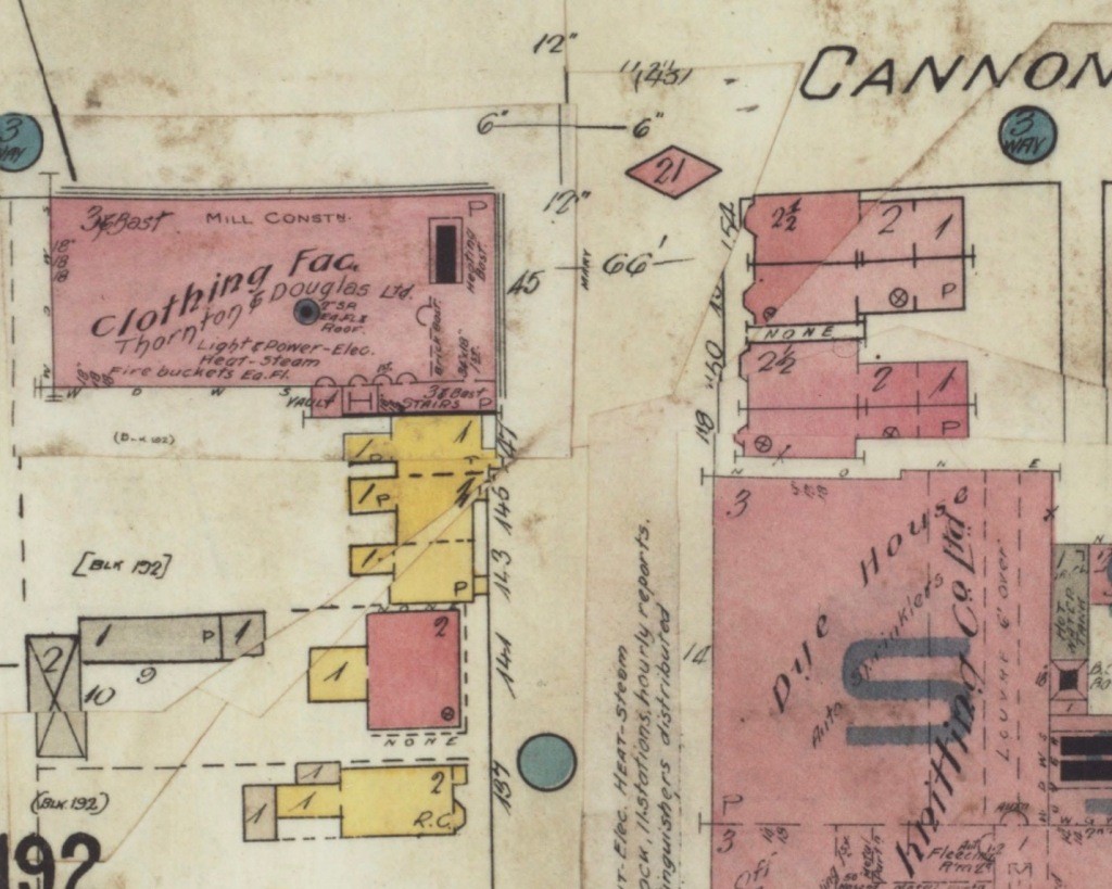 Fire Insurance Plan showing the south side of Cannon and Mary Streets, with Stewart & Witton's Thornton & Douglas Ltd; building set back from Cannon labelled Dye House on the east side of Mary
